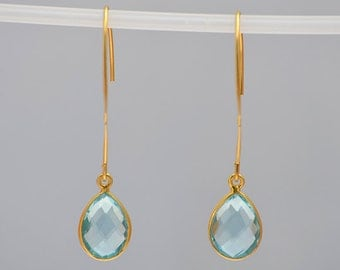 London Blue Topaz Earrings, December Birthstone earrings, Bridesmaid earrings, long bezel set earrings - dangle earrings - gemstone earrings