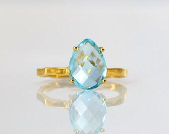 London Blue Topaz Ring - December Birthstone Ring - Gemstone Ring - Stacking Ring - Gold Ring - Tear Drop Ring - prong set ring size 5 6 789