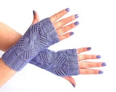 SALE - 50%OFF. Lavender Fingerless Gloves. Knit Fingerless Mittens. Knitted Wrist Warmers. Spring Accessories.