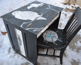 Made to Order Custom Hand-Painted Bird Desk and Chair, Bird Art Furniture, Snowy Owl, Woodpecker, Crow, Nest with Eggs, Antique, Children