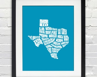 Texas Word Map - A typographic word map of cities in the state of Texas, Personalized Housewarming, Moving Gift, Home Decor, Print or Canvas