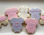 Baby onesie teddy bear cookies
