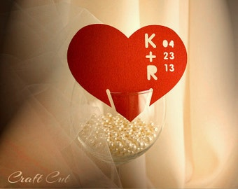 Summer wedding place cards Modern place card Simple place cards Paper cutouts Red heart place card Custom initials and date