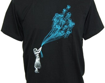 Graphic Design banksy Jelly Fish underwater balloon Men's T-Shirt (S-XL) Free Shipping