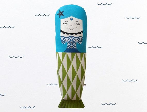 Scandinavian mermaid Retro Rag doll mini cushion geo sea stuffed toy