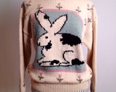 Vintage Hand Knit Spring Rabbit Sweater