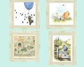 Winne the Pooh Prints | Childrens Nursery decor | 10 x 8 Downloadable Wall Prints | Winnie the Pooh Nursery |