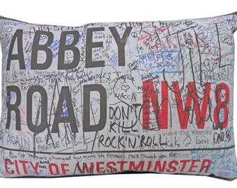 The Beatles Fab Four Abbey Road London Pillow 14 x 10""