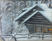 Snowy Cabin  - Original Framed Drawing - Last day at this SALE price