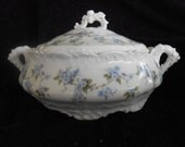 Antique Hermann Ohme Porcelain covered soup tureen or vegetable bowl in mint condition.  Beautiful scalloped edge.