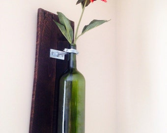 Reclaimed Wood & Wine Bottle Wall Sconce - set of two