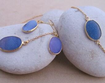 Oval Blue Druzy Jewelry Set- Druzy Necklace Earring Bracelet Set- Blue Gemstone Jewelry Set