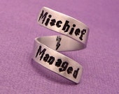 Harry Potter Inspired - Mischief Managed - A Hand Stamped Aluminum Wrap Ring