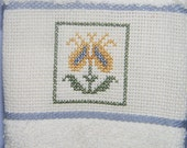 Blue and Yellow Flower Towel - Kitchen Towel - Guest Towel - Cross Stitch Towel