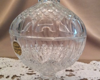 Vintage Cristal d'arques French Bleikristall Genuine French Lead Crystal Dish with Lid, 24% PbO
