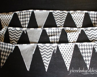 Bunting Flags on Linen Cotton Canvas - 94 inches - 2 sided