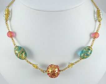 italian Glass and 14K Gold Filled necklace