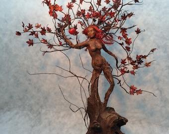 Spring Sale - ooak fairy art doll sculpture dryad tree spirit woman fall leaves Adam and Eve snake apple