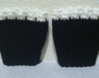 Crochet Boot Cuffs -Black with White Lacy Edging- Boot Toppers, Leg Warmers, Leg Cuffs, Boot Sleeve, Ribbed