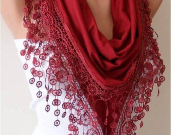 Gift for Her Burgundy Cotton Scarf Venice Lace Fall Winter Scarf Women Gift for Women Winter Scarves Cyber Monday Womans Gift Womens Gift
