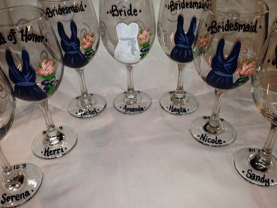 Wedding wine glasses hand painted personalized bridal party