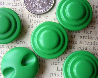 Vintage Green Buttons - Set of 5 - Early plastic 1930s or 1940s