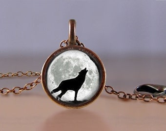 Jewelry - Lucky Penny Necklace Art - Wolf Howling at Moon - Choose Chain Length - 1 Cent Jewelry - Charm - Pendant - Penny Jewelry