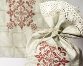 Linen gift bags  gray linen  personalized  tote bag red cross-stitch oranamet set of 2