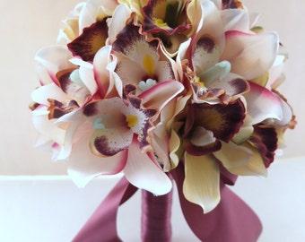 Blush Pink Cymbidium Orchid  bouquet, Bridal Bouquet, Wedding Bouquet, bridesmaid bouquet, toss bouquet