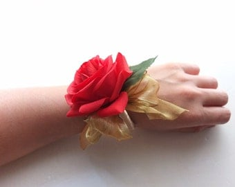 Wrist Corsage, Red rose with gold organza on pearl bracelet