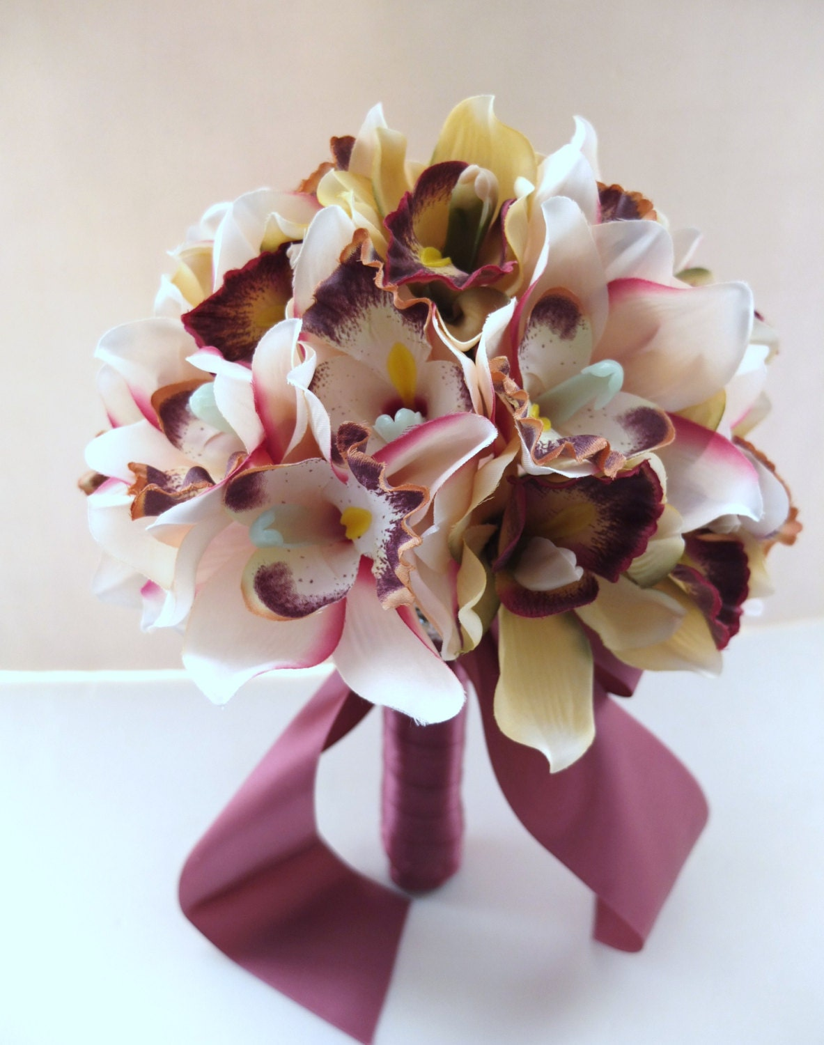Blush Pink Cymbidium Orchid Bouquet Bridal Bouquet Wedding