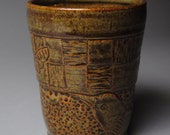 Clay Tumbler Vase Carved Dark Green with Bird and Butterfly