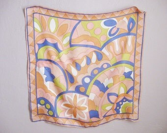 1960s Vintage Scarf Crazy Multicolor Print Blue Yellow Orange