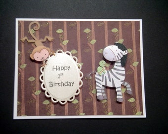 Safari First Birthday Card , 1st Birthday Card , Safari Animals , Baby Birthday , Jungle Animals , Handmade Card