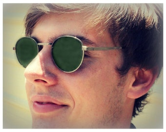 Round P3 Sunglasses / Mens Gatsby Glasses / John Lennon Glasses / Green Lenses / Silver Gunmetal Frames / O'Malley Sunglasses