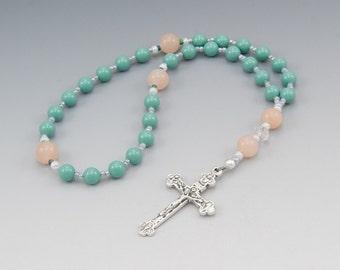 Anglican Prayer Rosary - Genuine Swarovski Blue Jade Pearls with Aventurine - Christian Gifts - Item # 789