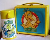 LABORSALEWEEK Vintage Plastic Sesame Street Lunch Box with Thermos circa 1985