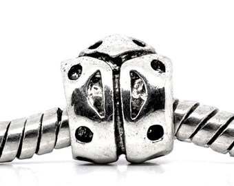 2 Pieces Silver Tone Lady Bug European Charm Beads