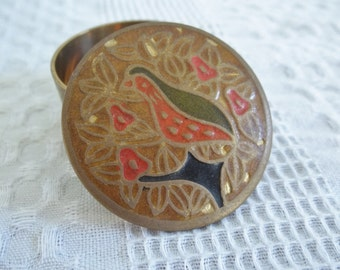 Antique cloisonne box, small round brass box vintage Partridge in a Pear Tree wildlife bird India 1960s ring box natural decor birds leaves