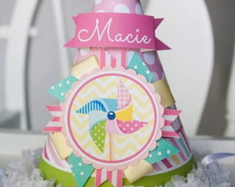 Pinwheel Birthday Party Hat, Pinwheel Party Hat