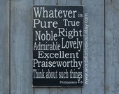 Philippians 4:8 WHATEVER Christian Bible Scripture Subway Typography Art  Wooden Sign