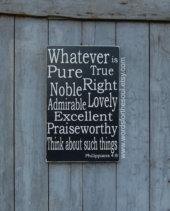 Philippians 4:8 Bible Verse Wall Art Rustic Wood Signs