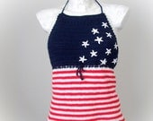 USA flag top, crochet sexy top, USA tank,  summer top, summer festival top, sexy halter top,
