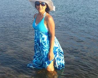 Halter Dress With Summer Fabrics-Top,Tank,Halter,Coverups