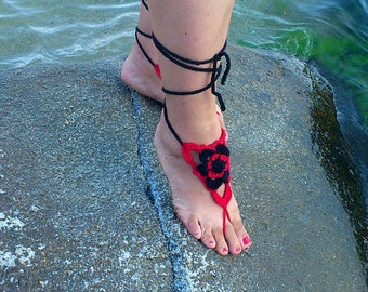 Hand Crochet Barefoot Sandals,Foot jewelry,Wedding,Triangles Barefoot Sandals,Gotic,Hippie,Gypsy,Yoga,Anklet,Bellydance,Beach Pool,Steampunk