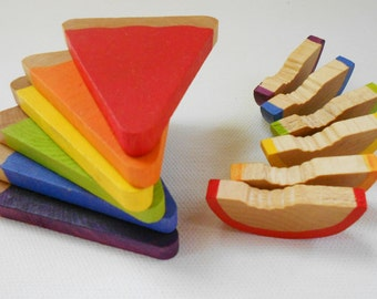 Wood pretend food pie and fruit slices montessori color matching kids game