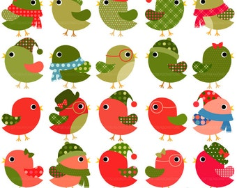 Christmas bird clip art for Personal and Commercial use - INSTANT DOWNLOAD