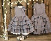 Grey flower girl dress Girls polka dot dress Cotton flower girl dress Toddler girl ruffle dress Girls birthday dress Girls spcial occasion