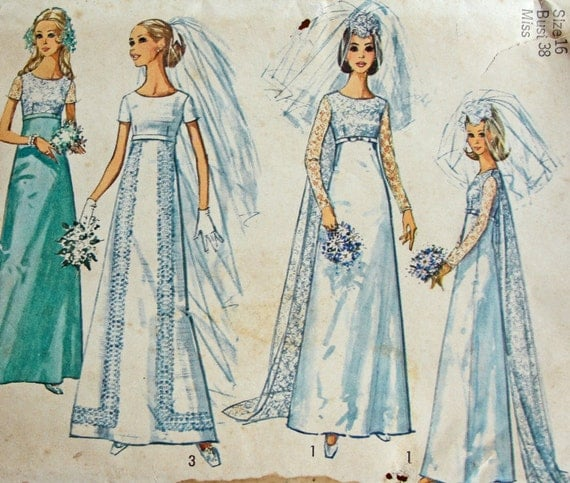Sale 1970 39 s wedding dress pattern uncut size 16 by for 1970s wedding dresses for sale