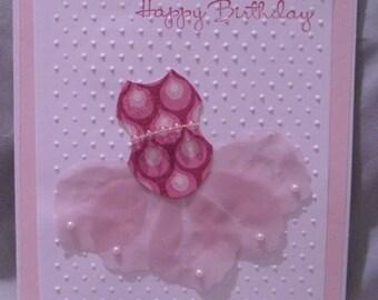 Handcrafted Girly TUTU birthday card